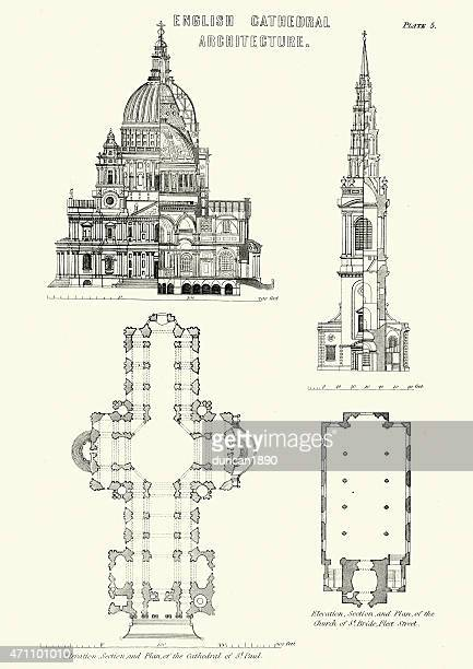 英語大聖堂の建築デザイン-セントポール大聖堂 - 新古典派点のイラスト素材/クリップアート素材/マンガ素材/アイコン素材