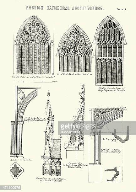english cathedral architecture - windows and arches - gothic style stock illustrations, clip art, cartoons, & icons