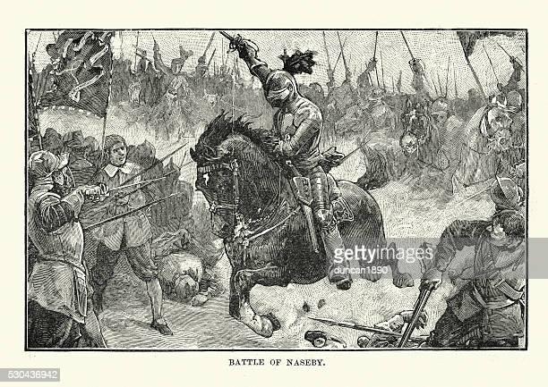 english civil war - battle of naseby 1645 - english culture stock illustrations