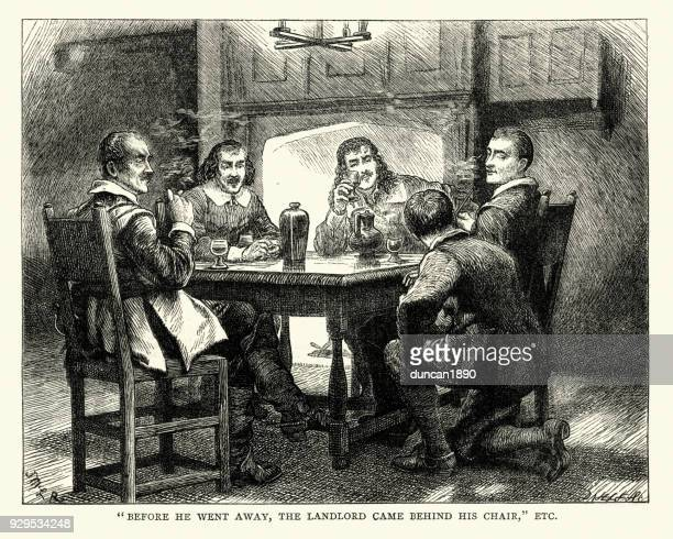 english civil war, charles ii in the pub at charmouth - 17th century stock illustrations, clip art, cartoons, & icons
