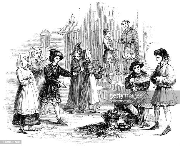english commoner fashion and lifestyle of the mid 15th century - circa 15th century stock illustrations, clip art, cartoons, & icons