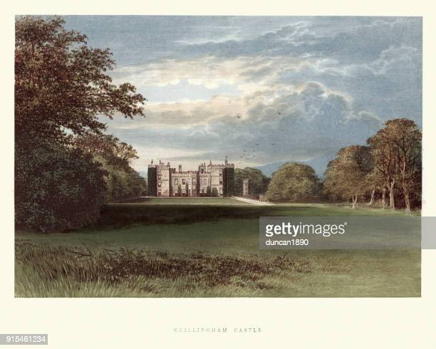 english country mansions - chillingham castle - northeastern england stock illustrations, clip art, cartoons, & icons