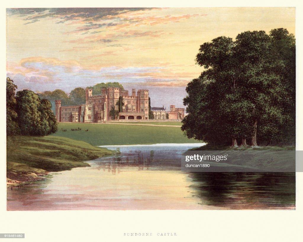 English country mansions - Sundorne Castle, Shrewsbury, Shropshire : stock illustration