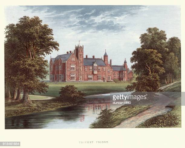 english country mansions - thicket priory, north yorkshire - british culture stock illustrations
