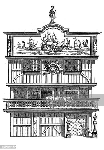 English East India Company, headquarters in London, exterior view in 17th century