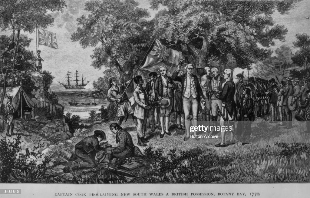English explorer Captain James Cook (1728 - 1779) proclaims New South Wales a British possession, shortly after his landing at Botany Bay. His ship, the Endeavour can be seen in the background.