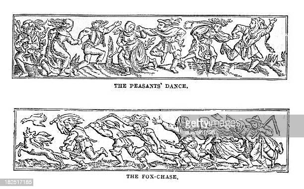 english folk art - 16th century style stock illustrations