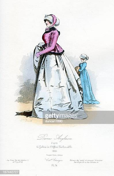 english ladies early 19th century costume - fontanges stock illustrations, clip art, cartoons, & icons