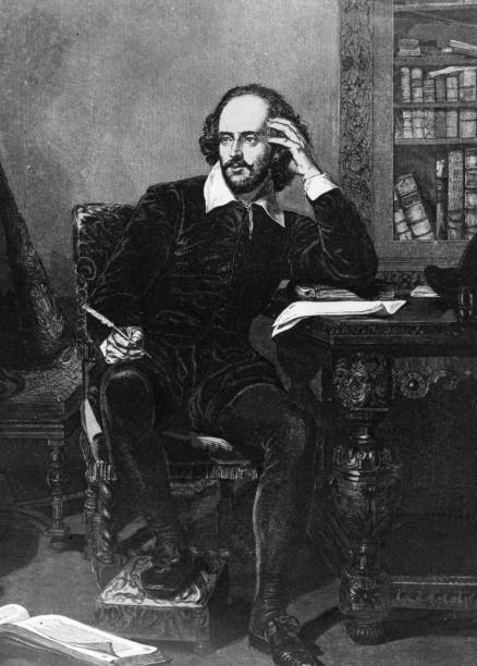English playwright and poet William Shakespeare , circa...