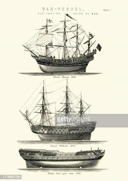 english royal navy warships, 16th, 17th, 18th century - warship stock illustrations