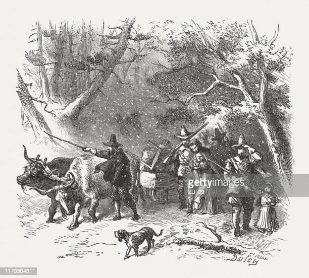 english settlers in america, 1st half 17th century, published 1876 - pilgrim stock illustrations