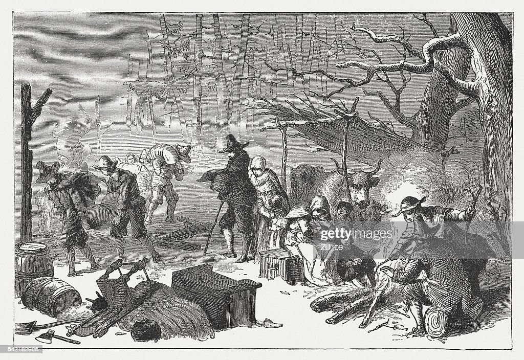 English Settlers in America, 1st half 17th century, published 1884 : stock illustration
