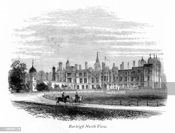 english victorian engraving, burleigh hall, north view, leicestershire, england, 1875 - loughborough stock illustrations