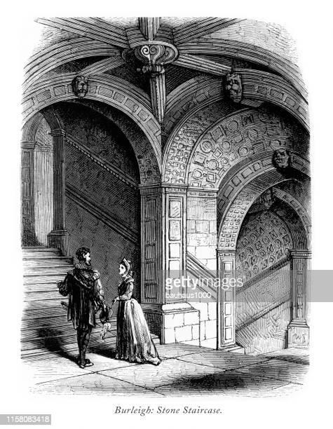 ilustraciones, imágenes clip art, dibujos animados e iconos de stock de english victorian engraving, burleigh hall, escalera de piedra, leicestershire, inglaterra, 1875 - arco característica arquitectónica