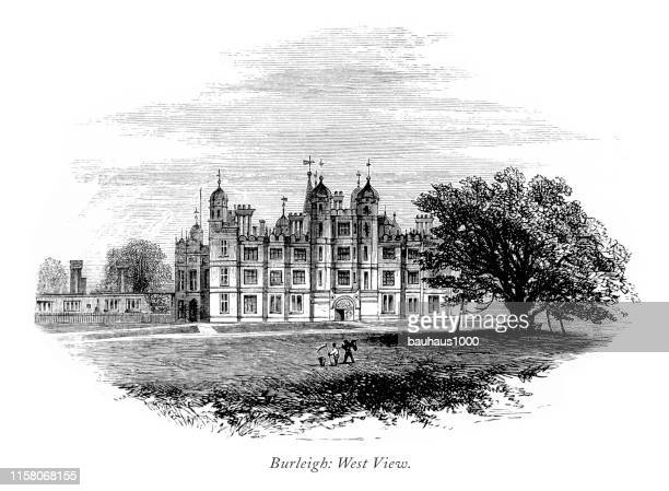 english victorian engraving, burleigh hall, west view, leicestershire, england, 1875 - loughborough stock illustrations