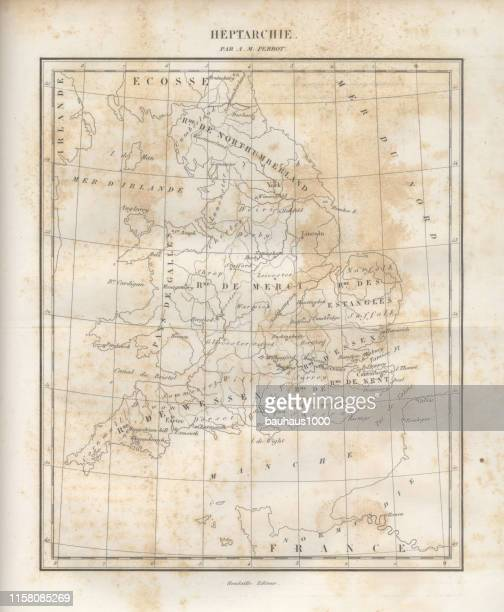 English Victorian Engraving of Historical Map of England and Great Britain, 1840