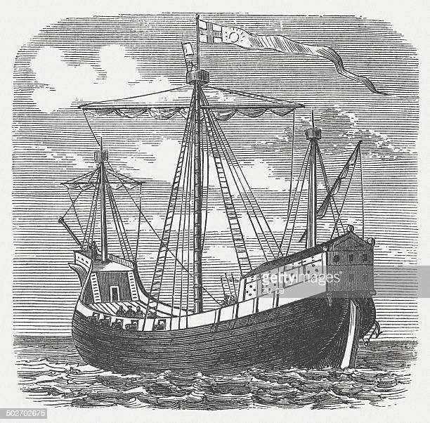 English warship from the 15th century, wood engraving, published 1880