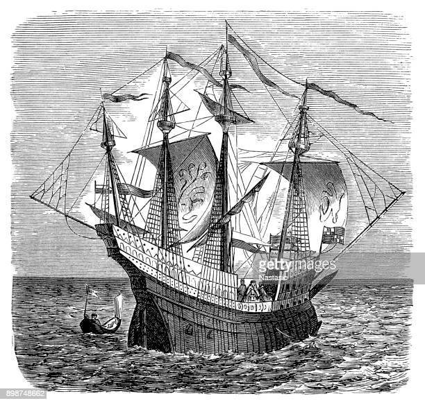 english warship - navire de guerre - middle 16th century - 16th century style stock illustrations, clip art, cartoons, & icons