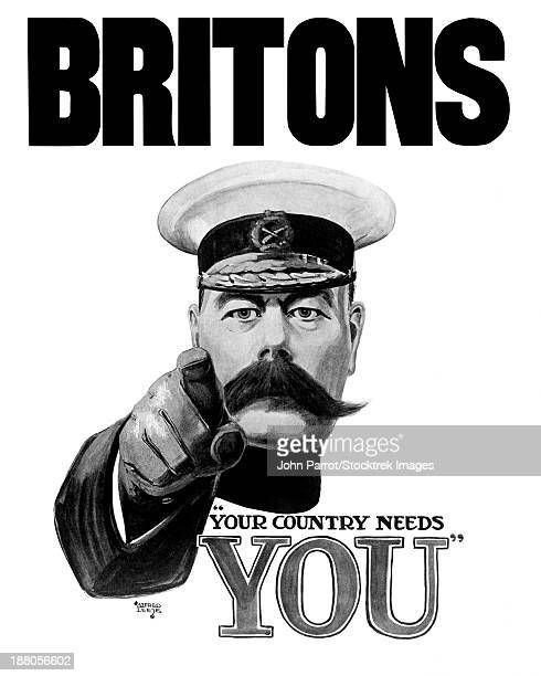 English World War I propaganda poster featuring Lord Kitchener pointing at the viewer. It declares, Britons Your Country Needs You.