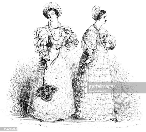 english/french lady's fashion of the 16th century - tudor stock illustrations