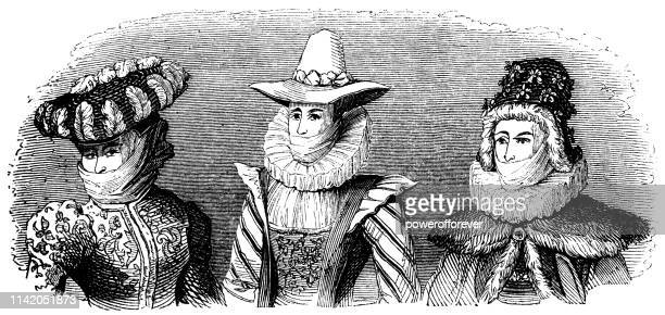 english/french outerwear ladies fashion of the 16th century - tudor stock illustrations