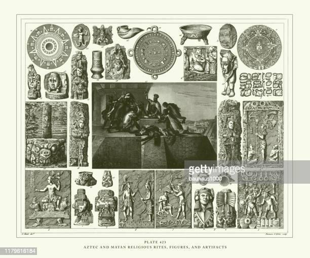 ilustraciones, imágenes clip art, dibujos animados e iconos de stock de ritos religiosos antiguos, aztecas y mayas grabados, figuras y artefactos, ilustración antigua de grabado, publicado en 1851 - calendario maya