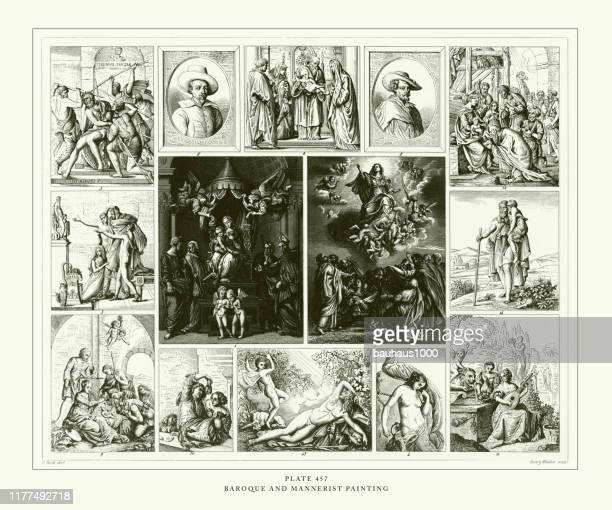 engraved antique, baroque and mannerist painting engraving antique illustration, published 1851 - tiziano vecellio stock illustrations, clip art, cartoons, & icons