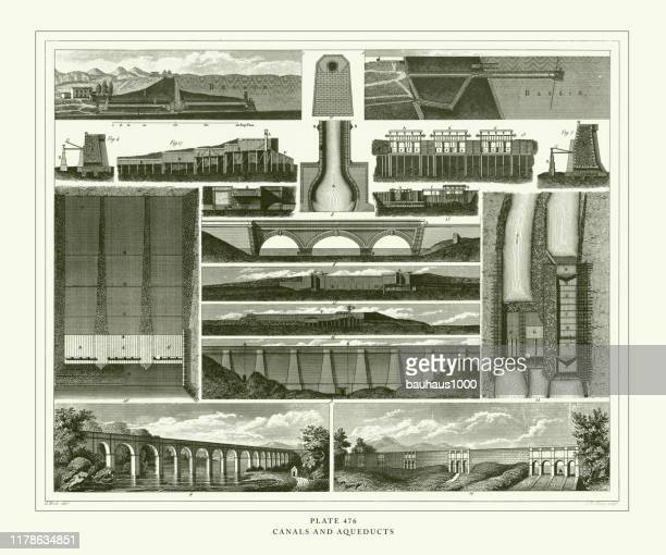 engraved antique, canals and aqueducts engraving antique illustration, published 1851 - aqueduct stock illustrations, clip art, cartoons, & icons