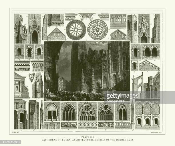 engraved antique, cathedral of rouen; architectural details of the middle ages engraving antique illustration, published 1851 - rouen stock illustrations, clip art, cartoons, & icons