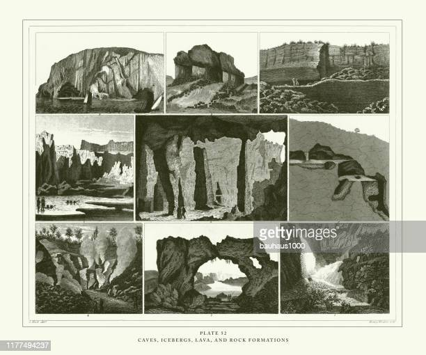 engraved antique, caves, icebergs, lava and rock formations engraving antique illustration, published 1851 - isle of staffa stock illustrations, clip art, cartoons, & icons