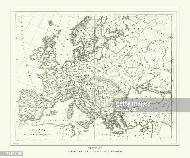stockillustraties, clipart, cartoons en iconen met gegraveerde antieke, europa in de tijd van karel de grote gravure antieke illustratie, gepubliceerd 1851 - noord europa