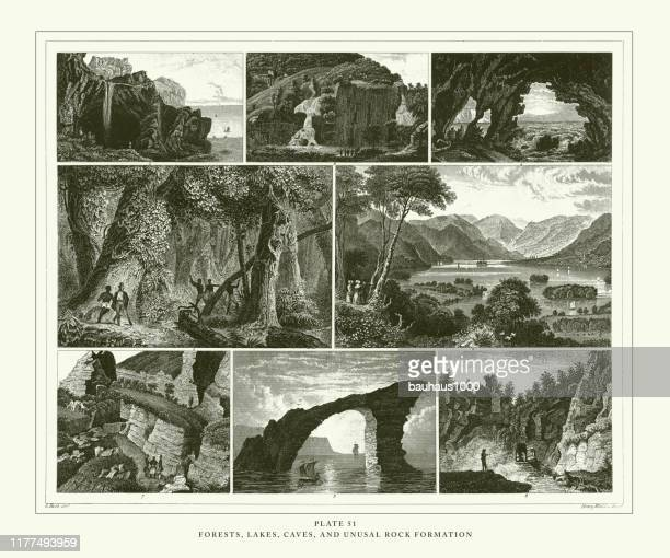 engraved antique, forests, lakes, caves and unusual rock formation engraving antique illustration, published 1851 - natural arch stock illustrations, clip art, cartoons, & icons