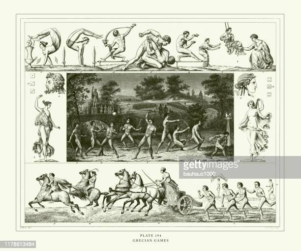 engraved antique, grecian games engraving antique illustration, published 1851 - discus stock illustrations, clip art, cartoons, & icons