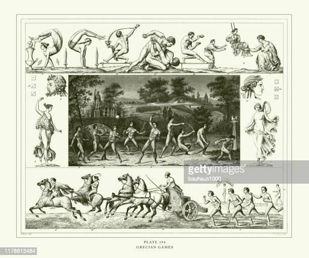 engraved antique, grecian games engraving antique illustration, published 1851 - aphrodite stock illustrations, clip art, cartoons, & icons