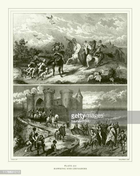 engraved antique, hawking and crusaders engraving antique illustration, published 1851 - falconry stock illustrations