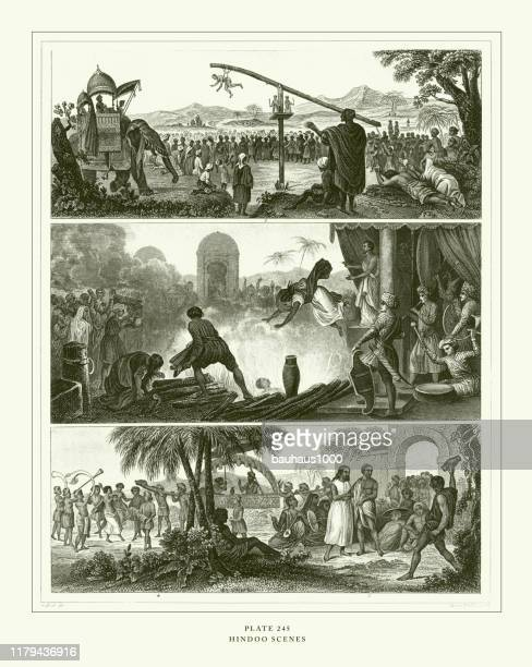 illustrazioni stock, clip art, cartoni animati e icone di tendenza di engraved antique, hindu scenes engraving antique illustration, published 1851 - penitente people