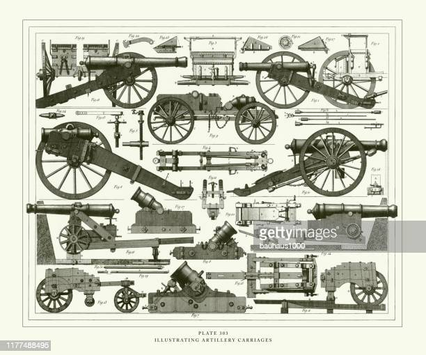 engraved antique, illustrating artillery carriages engraving antique illustration, published 1851 - canon stock illustrations