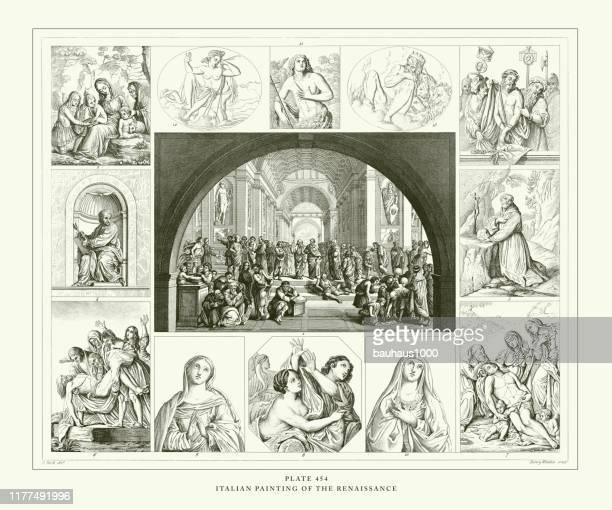 illustrazioni stock, clip art, cartoni animati e icone di tendenza di engraved antique, pittura italiana dell'incisione rinascimentale illustrazione antica, pubblicato nel 1851 - michelangelo merisi da caravaggio
