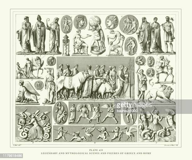 engraved antique, legendary and mythological scenes and figures of greece and rome engraving antique illustration, published 1851 - aphrodite stock illustrations, clip art, cartoons, & icons