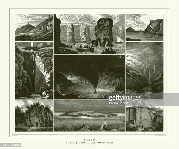 engraved antique, notable geological formations engraving antique illustration, published 1851 - sandstone stock illustrations, clip art, cartoons, & icons