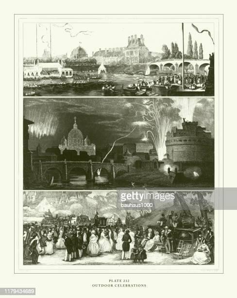 彫刻アンティーク、屋外のお祝い彫刻アンティークイラスト、1851年発行 - 舞踏会点のイラスト素材/クリップアート素材/マンガ素材/アイコン素材