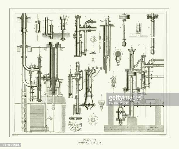 engraved antique, pumping devices engraving antique illustration, published 1851 - air valve stock illustrations, clip art, cartoons, & icons