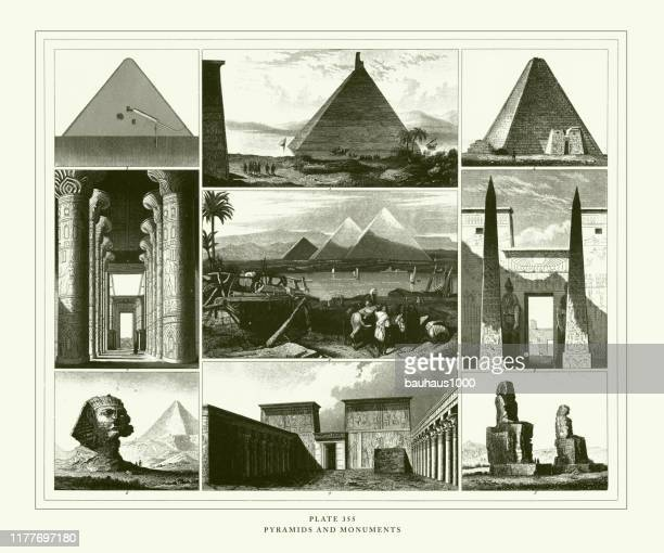 engraved antique, pyramids and monuments engraving antique illustration, published 1851 - thebes egypt stock illustrations