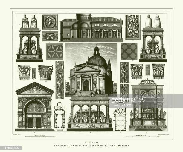 彫刻アンティーク、ルネッサンス教会と建築の詳細彫刻アンティークイラスト、1851年発行 - 16世紀のスタイル点のイラスト素材/クリップアート素材/マンガ素材/アイコン素材