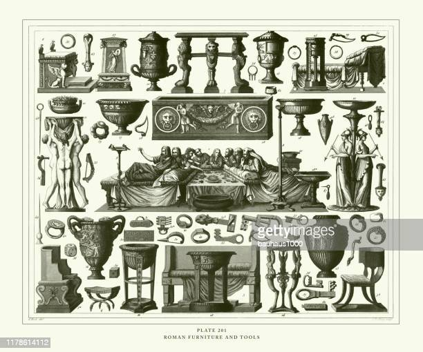 engraved antique, roman furniture and tools engraving antique illustration, published 1851 - urn stock illustrations