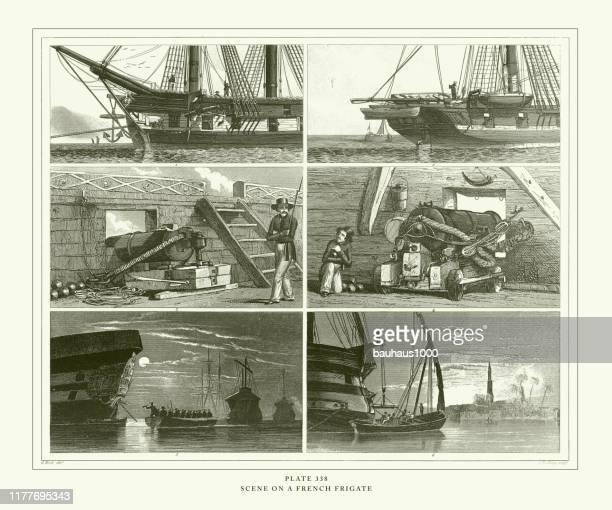 illustrations, cliparts, dessins animés et icônes de gravure antique, scène sur une français frigate engraving antique illustration, publié en 1851 - poupe
