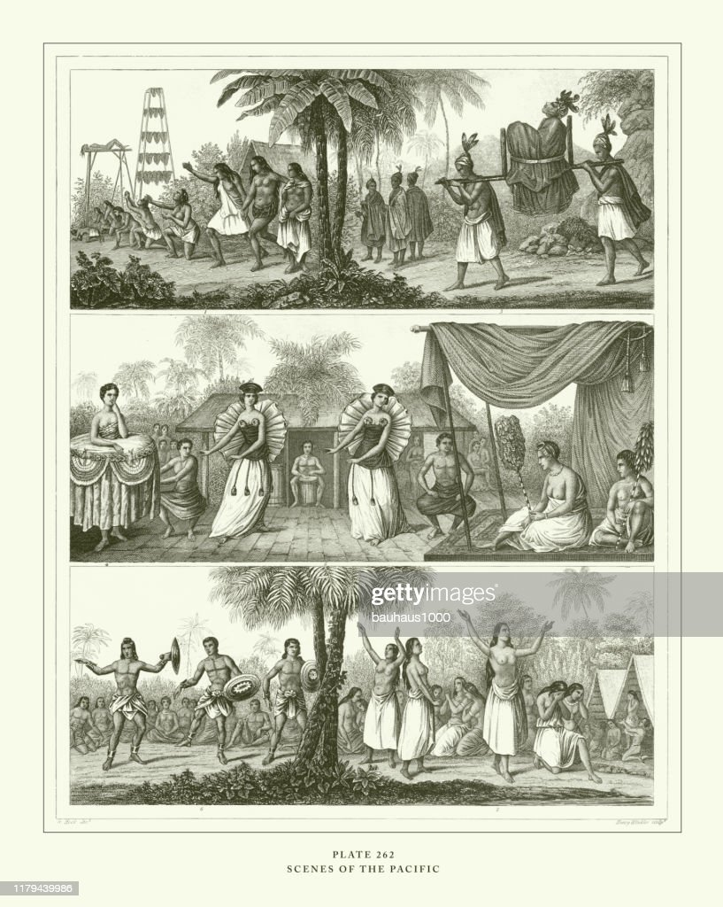 Engraved Antique, Scenes of the Pacific Engraving Antique Illustration, Published 1851 : stock illustration