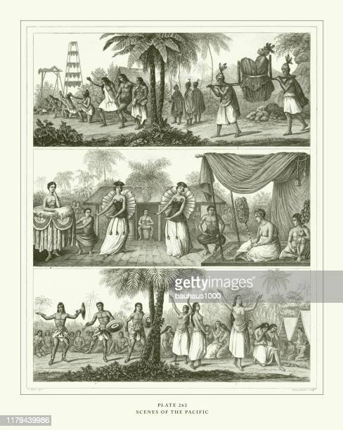 illustrazioni stock, clip art, cartoni animati e icone di tendenza di engraved antique, scenes of the pacific engraving antique illustration, published 1851 - penitente people