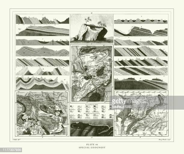彫刻アンティーク、特別な地理彫刻アンティークイラスト、1851年発行 - 巨礫点のイラスト素材/クリップアート素材/マンガ素材/アイコン素材