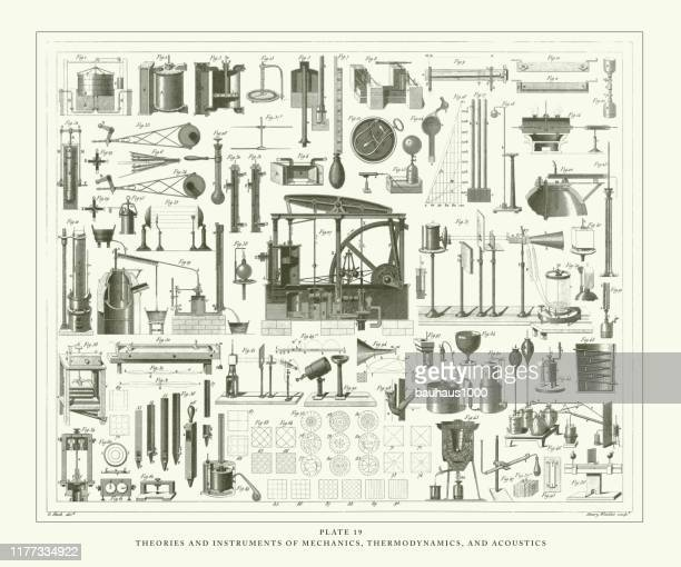 engraved antique, theories and instruments of mechanics, thermodynamics and acoustics antique illustration, published 1851 - physics stock illustrations